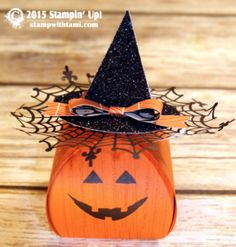 "Stampin Up Halloween Witches Hat Pumpkin Box ——— S U P P L I E S ———  • Sparkly Seasons Photopolymer Stamp Set #139825 • Gorgeous Grunge Clear Mount Stamp Set #130517 • Happy Haunting Designer Series Paper #139584 • Black Glimmer Paper #139605 • Tangelo Twist 8-1/2"" X 11"" Cardstock #133677 • Tangelo Twist Classic Stampin' Pad #133646 • Basic Black Archival Stampin' Pad #140931 • Spider Web Doilies #139622 • Tree Punch #135859 • Bow Builder Punch #137414 • 2-1/2 Inch Circle Punch #120906"
