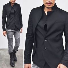 Outerwear :: Jackets :: Asymmetric High-fashion Edge Black-Jacket 21 - Mens Fashion Clothing For An Attractive Guy Look