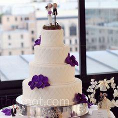 deep purpleee & quilted cake. loveeee the topper too!