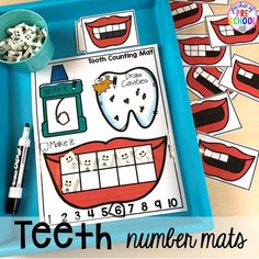 Dental health themed activities and centers for preschool, pre-k,and kindergarten (FREEBIES too). Perfect for a dental heath, tooth, or a my body theme. Kindergarten Freebies, Kindergarten Activities, Activities For Kids, Space Activities, Preschool Lessons, Preschool Math, Preschool Themes, Montessori, Dental Health Month