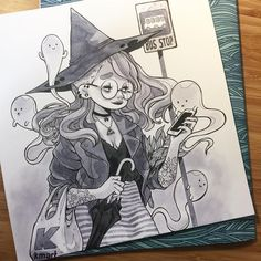 """4,434 Likes, 31 Comments - Alisa Vysochina (@alisavysochina) on Instagram: """"Urban witch with her little friends for day 5 #witchtober #inktober #inktober2016"""""""