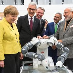 Indian Prime Minister Narendra Modi and German Chancellor Angela Merkel say hello to on Day 1 of Hannover Messe Abb Robotics, Prime Minister, Say Hello, German, Suit Jacket, Indian, Blazer, News, Jackets