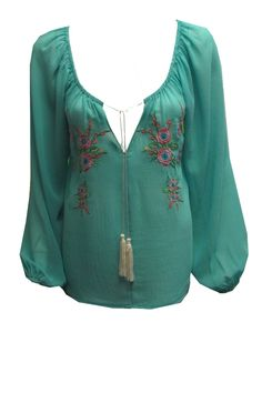 Embroidered Peasant top from Single Dress.  This mint floral embroidered peasant top is perfect for Summer Unleash your inner Bohemian Goddess in the mint washed chiffon hand embroidered floral peasant blouse Made in USA