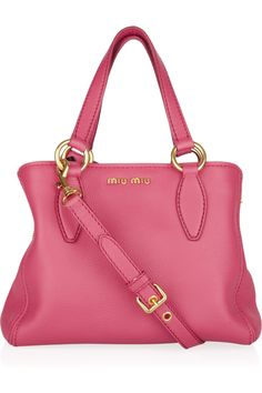 Miu Miu: Grained-leather tote - $1295    Adorable.  I love the colour, size, & silhouette.  Seems like an amazing bag which I will never own.