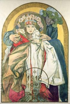 Alphonse Mucha - Poster for the 10th Anniversary of Independence of the Republic of Czechoslovakia