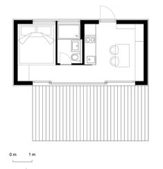View the full picture gallery of Futteralhaus Small House Plans, House Floor Plans, Small Apartments, Small Spaces, Tyni House, Simple Floor Plans, Planer Layout, Casa Patio, Built In Furniture