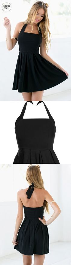 Best Seller // You will absolutely this versatile black halter skater dress. It's made of slightly stretchable material, partial lining and tie back to make it easy to wear.