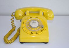 Vintage Phone Yellow Rotary Dial Bell System Western Electric Telephone 500DM