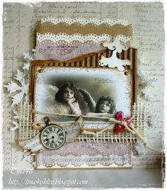 """Vintage Christmas Card by DT Member Tina Klix, using papers from Maja Design's """"Vintage Summer Basics"""" and Pion Design's """"Studio of Memories"""" collections."""