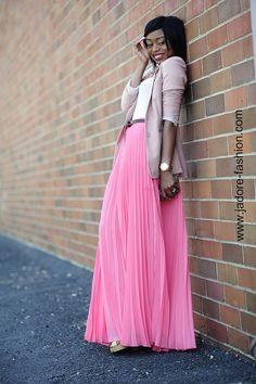 long skirt skirt and top skirt black Summer Trends Pleated Skirts Knee Length, Long Maxi Skirts, Chiffon Skirt, Dress Skirt, Dress Up, Pink Fashion, Skirt Fashion, Women's Fashion, Accordion Skirt