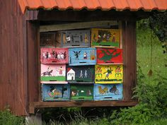 Painted Slovenian bee hive panels