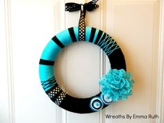 Blue and black yarn wreath