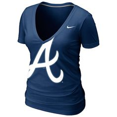 Atlanta Braves Women's Deep V Burnout T-Shirt by Nike. This is it. I want this. Preferably in long sleeves.
