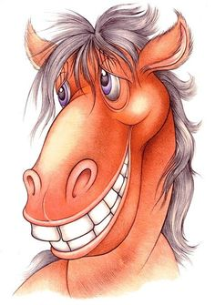 Main 804134 original Funny Paintings, Animal Paintings, Beauty Illustration, Cute Illustration, Horse Drawings, Cartoon Drawings, Horse Cards, Watercolor Animals, Watercolor Cards