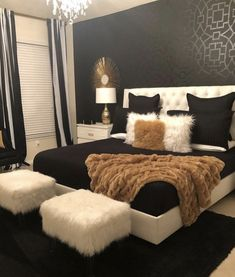 Black White & Gold Bedroom - Home - Bedroom Decor Room, Home Decor Bedroom, Bedroom Ideas, Bedroom Designs, Diy Bedroom, Modern Bedroom, Bedroom Themes, Black Bedroom Decor, Dream Bedroom