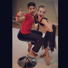 Dance Moms Miami Lucas and Mia posing for the camera.