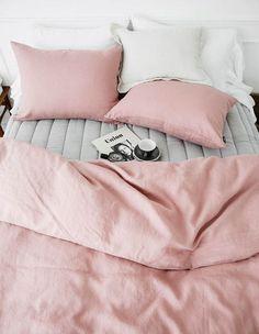 pink bedding makes any room look comfy Dream Bedroom, Home Bedroom, Bedroom Decor, Master Bedroom, Fantasy Bedroom, Bedroom Green, Master Closet, Bedroom Lighting, Minimalist Bedroom