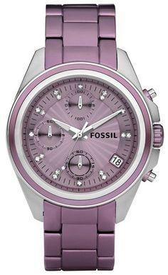 NWT Fossil ES2916 Purple Aluminum Decker Style Women's