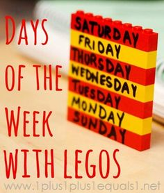 Learning days of the week and months of the year with Legos - good idea for learning sequence of many things