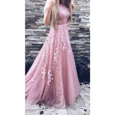 A-Line Crew Court Train Backless Pink Tulle Prom Dress with Appliques ❤ liked on Polyvore featuring dresses, tulle prom dress, a line prom dresses, pink cocktail dress, purple dress and pink prom dresses