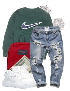 """""""Nike"""" by denise-loveable-bray ❤ liked on Polyvore featuring River Island, NIKE and JanSport"""
