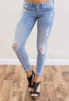Low rise distressed skinny jeans -- so stylish and comfortable!