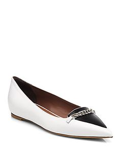 5dffe918132e Tabitha Simmons - Alexa Bicolor Leather Chain-Trimmed Flats