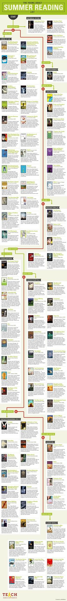 The Young Adult summer reading chart - infographic