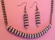 Purple peyote stitch necklace/earring set | Bnbcrafts - Jewelry on ArtFire