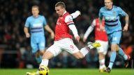 Lukas Podolski scores against West Ham United