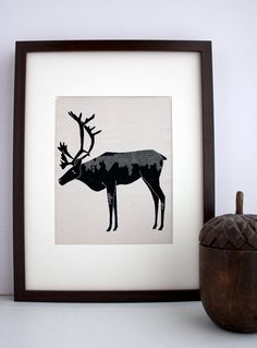 Winter Caribou Illustration: Antler Animals Series - Free US Shipping - Will Ship After August 5th