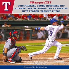 Michael Young with the hit making him the All-time Rangers' leader in hits #Texas #Rangers #TexasRangers #NeverEverQuit