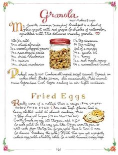April 2017 ~Recipes for Granola and Fried Eggs What's For Breakfast, Breakfast Recipes, Breakfast Items, Susan Branch Blog, Special Recipes, Vintage Recipes, Food Illustrations, Food To Make, Brunch