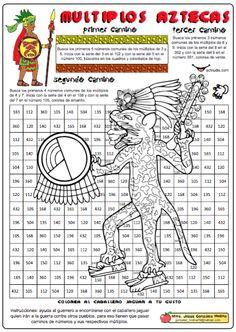 """Con """"Múltiplos aztecas"""" realizada porJesús González Molina de la Escuela Primaria Vicente Guerrero, desde Los Placeres del Oro, Guerrero, México se trabaja mediante un juego de orientación los múltiplos de tres parejas de números a los que hay que encontrar los múltiplos comunes. Al final del artículo encontrarás enlaces con …"""