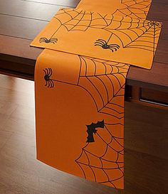 Elrene Dangling Webs Halloween Table Linens | Dillards