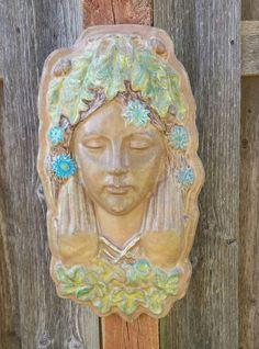 Greenlady Fairy Statue   Goddess Statue   Green Woman Wall Sculpture   Garden  Statues   Forest Goddess   Green Woman   Deity Statue