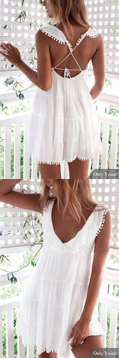 White V-neck Backless Design Mini Dress Grad Dresses, Casual Dresses, Summer Dresses, Boho Wedding Hair, Trendy Wedding, Wedding Dress, Dress Skirt, Dress Up, White V Necks