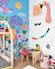 a beautiful and bold kid's room with a bright paitned wall, faux taxidermy, bold garlands and toys and a hot pink chair Modern Playroom, Playroom Wall Decor, Playroom Organization, Playroom Design, Kids Room Design, Nursery Design, Kids Bedroom Sets, Room Ideas Bedroom, Bedroom Themes
