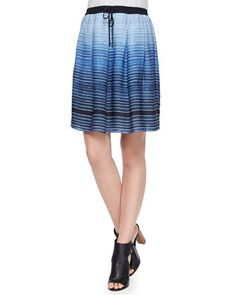 Striped Pleated Drawstring Skirt at CUSP.