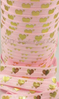 Fold over elastic, Large gold hearts on pink elastic by the yard, Valentines FOE, 5/8 elastic, Headband elastic,  1 or 5 yards - pinned by pin4etsy.com