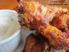 baked sweet and spicy chicken wings with dill ranch cream sauce on http://www.pomanmeals.com