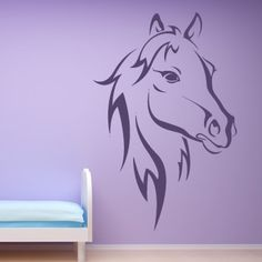 horse wall painting | Horse-Head-Outline-Farmyard-Animals-Wall-Sticker-Wall-Art-Decal ...
