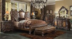 VersaillesCherry/ Tone light Brown 6Pc King Bedroom Set By Acme 21097EK +Bench