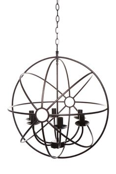 60 cm Diameter for use with 6 x E14 light Fittings.  Burnished antiqued matt black finished metal frame