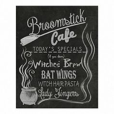 See what's brewing with our Broomstick Cafe Halloween Tabletop Canvas Easel! Display today's specials on your kitchen counter - witch's brew and bat wings! Halloween Tafel, Halloween Kitchen, Halloween Home Decor, Kitchen Witch, Halloween House, Holidays Halloween, Halloween Crafts, Halloween Decorations, Halloween Stuff