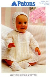 6808faf3dcd6 PURCHASED pattern - KNIT - Patons Knitting Patterns for Baby ~ dress