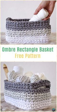CrochetOmbre Rectangle Basket Free Pattern