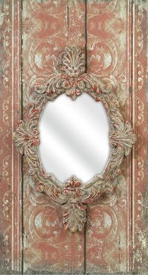 French antique coral paint with ornate mirror