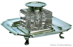 19th C. Cut Glass Inkwell on Silver Stand with scroll feet.