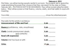 Reading fluency with poetry Done a few times a year